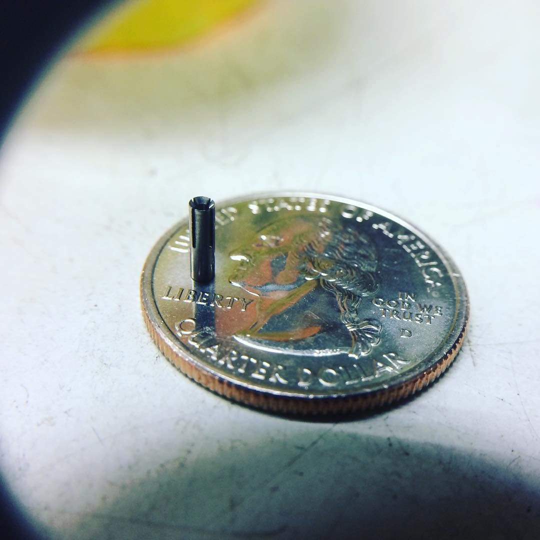Machined Part: Tiny EDM-cut slotted tube